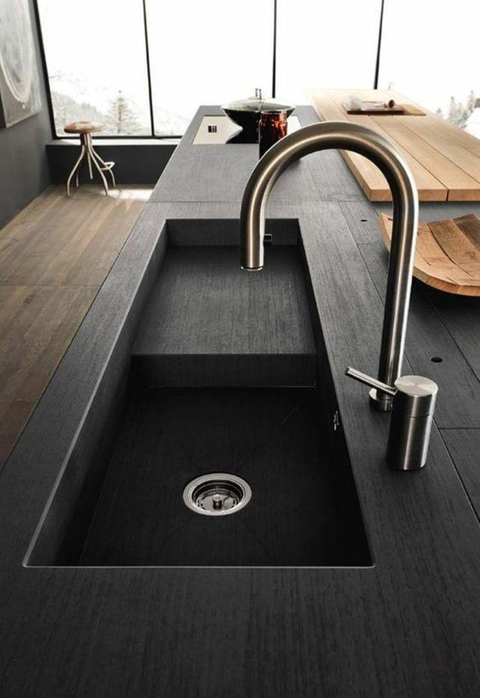 cuisine noire lavabo et plan de travail en noir évier ...