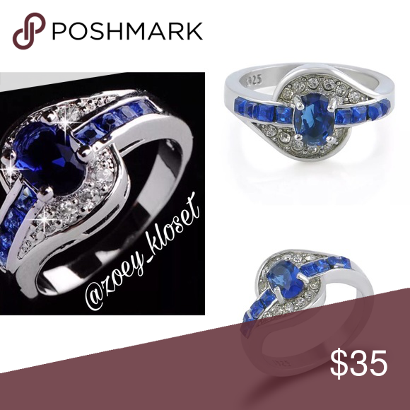 Blue Sapphire White Gold Ring Size 7 8 Costume jewelry