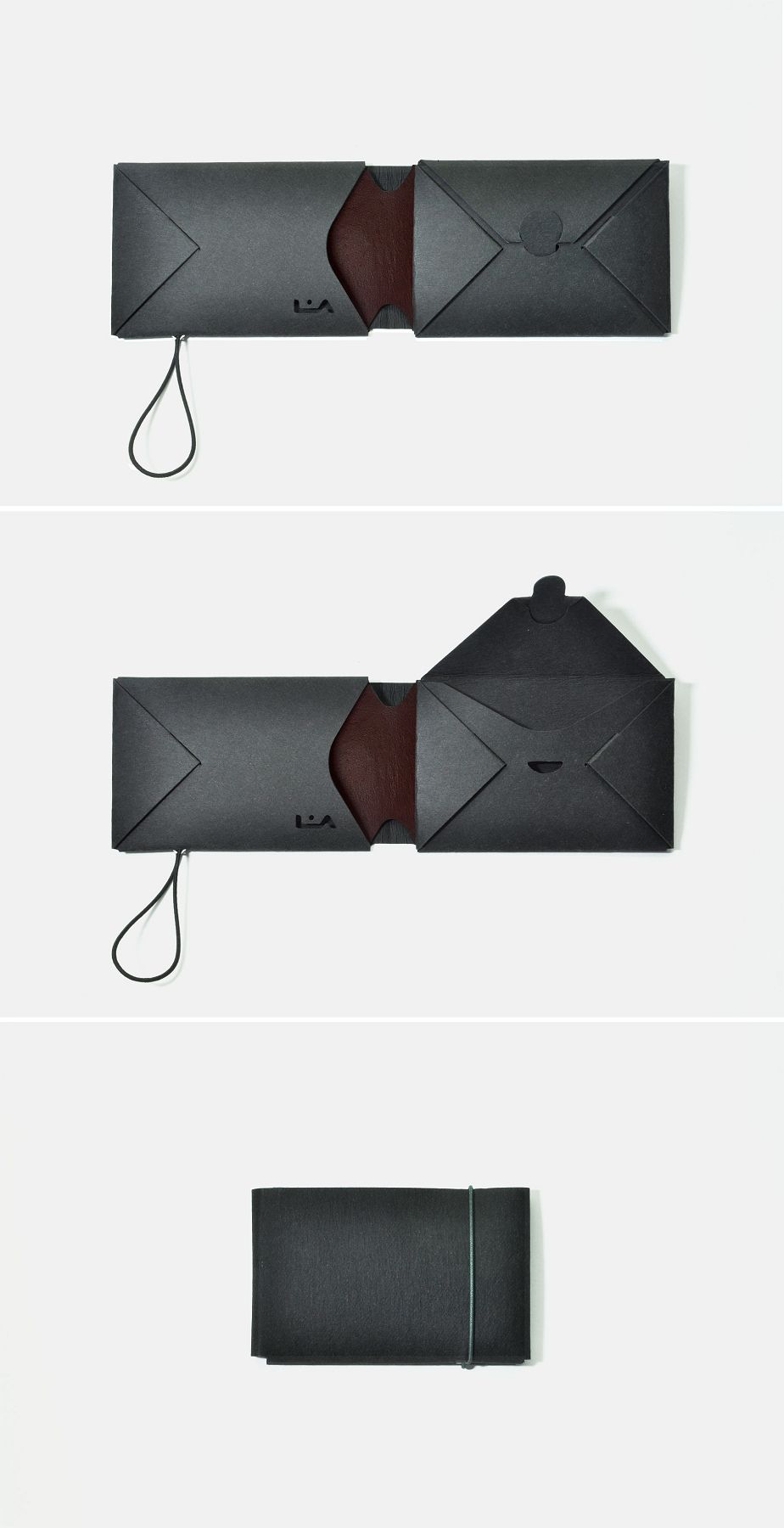 85d560aa37 liaform, portafogli origami nero / marrone rossiccio, portafoglio mini vegan  (borsa, portamonete