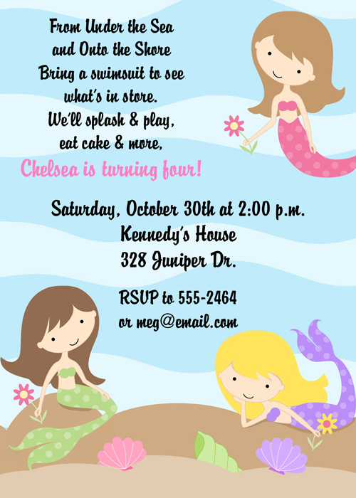 sea mermaids birthday party invitations