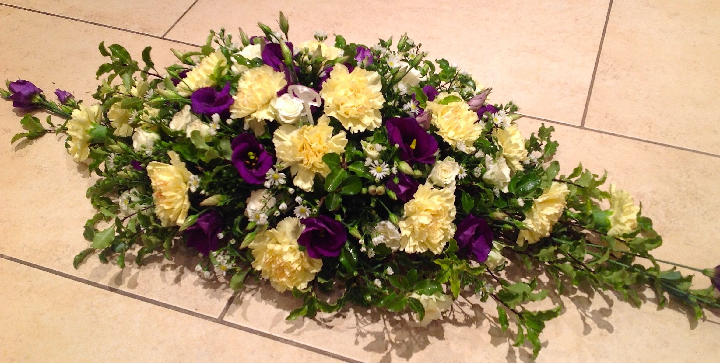 Yellow and purple double ended spray Center Pieces