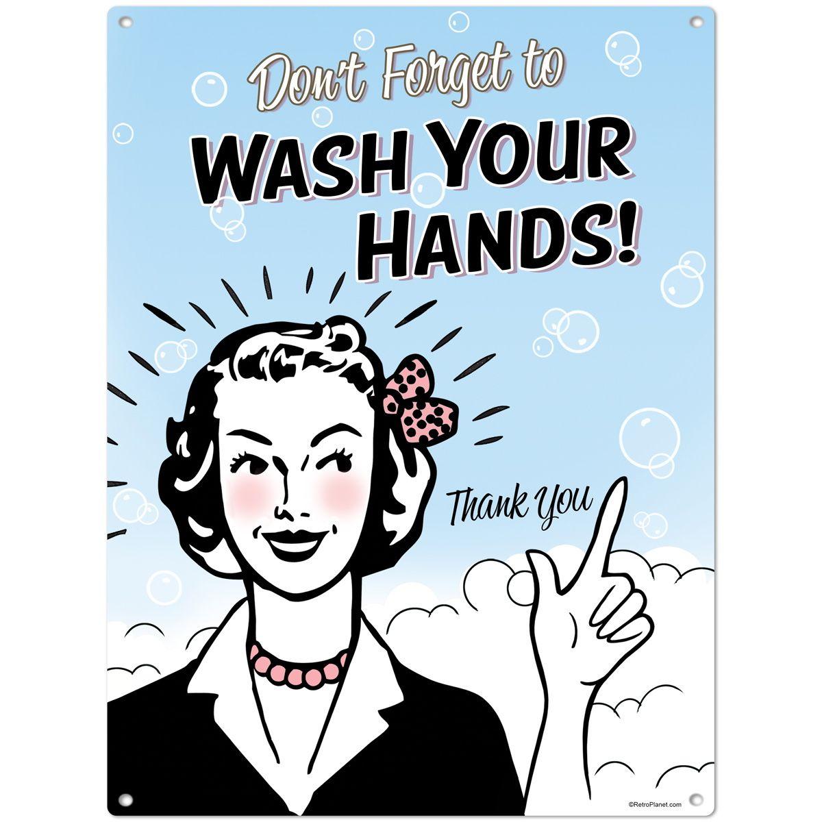 Bathroom Sanitation Signs: Wash Your Hands Steel Bathroom Sign_D