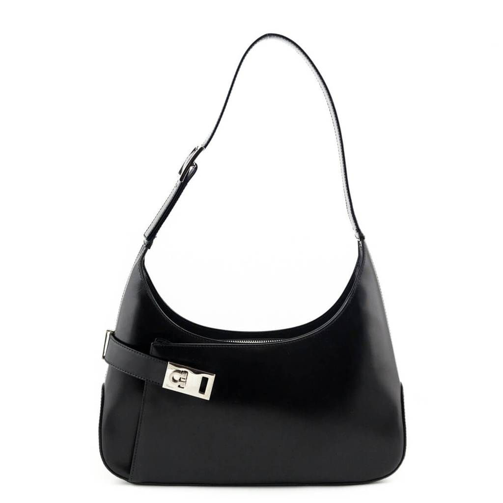 Salvatore Ferragamo Black Calfskin Gancio Hobo - LOVE that BAG - Preowned  Authentic Designer Handbags - f2af08da1a978