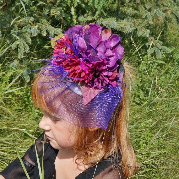Rich Purple Flower Crinoline Veiled Girls fascinator by ChantillyLaceDesigns, $45.00