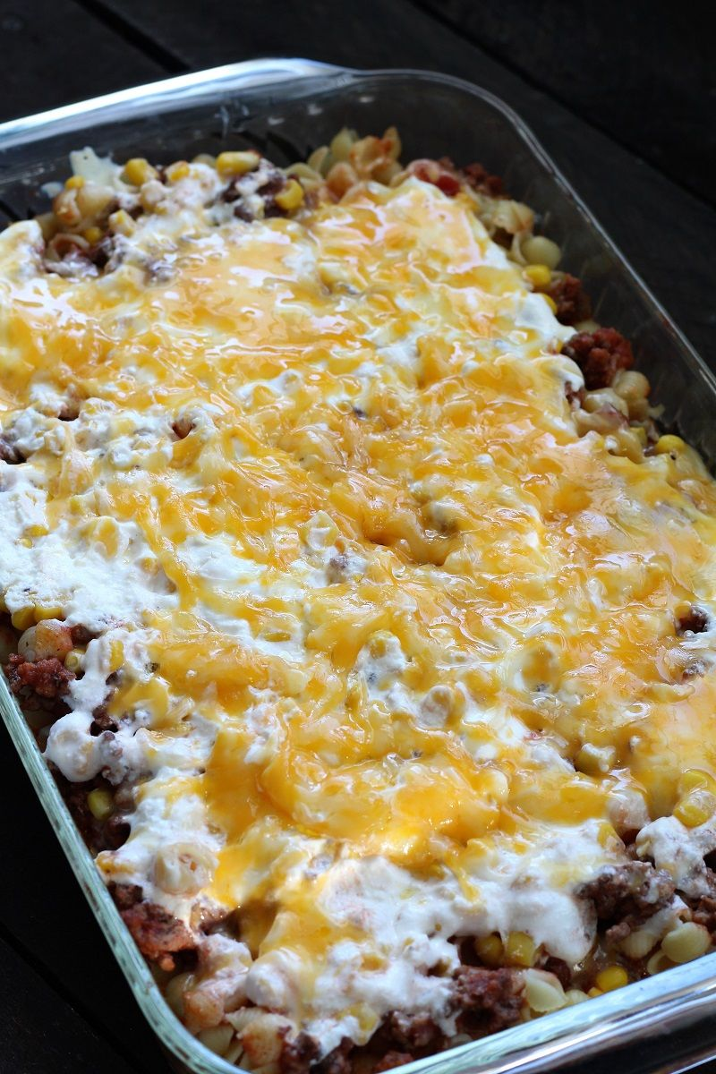 Cream Cheese And Sour Cream Mixed With Salsa And Noodles With Cheese Make This Hamburger Pasta Casserole Bake T Recipes Mexican Food Recipes Pasta Casserole