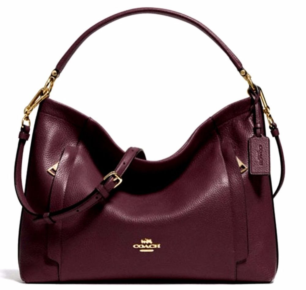 Nwt Coach Pebble Leather E W Hobo Shoulder Crossbody Handbag Purse Oxblood