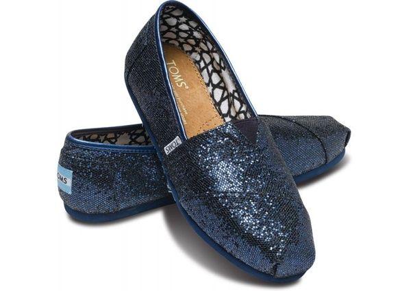 Twilight Blue Glitter.  TOMS summer styles!