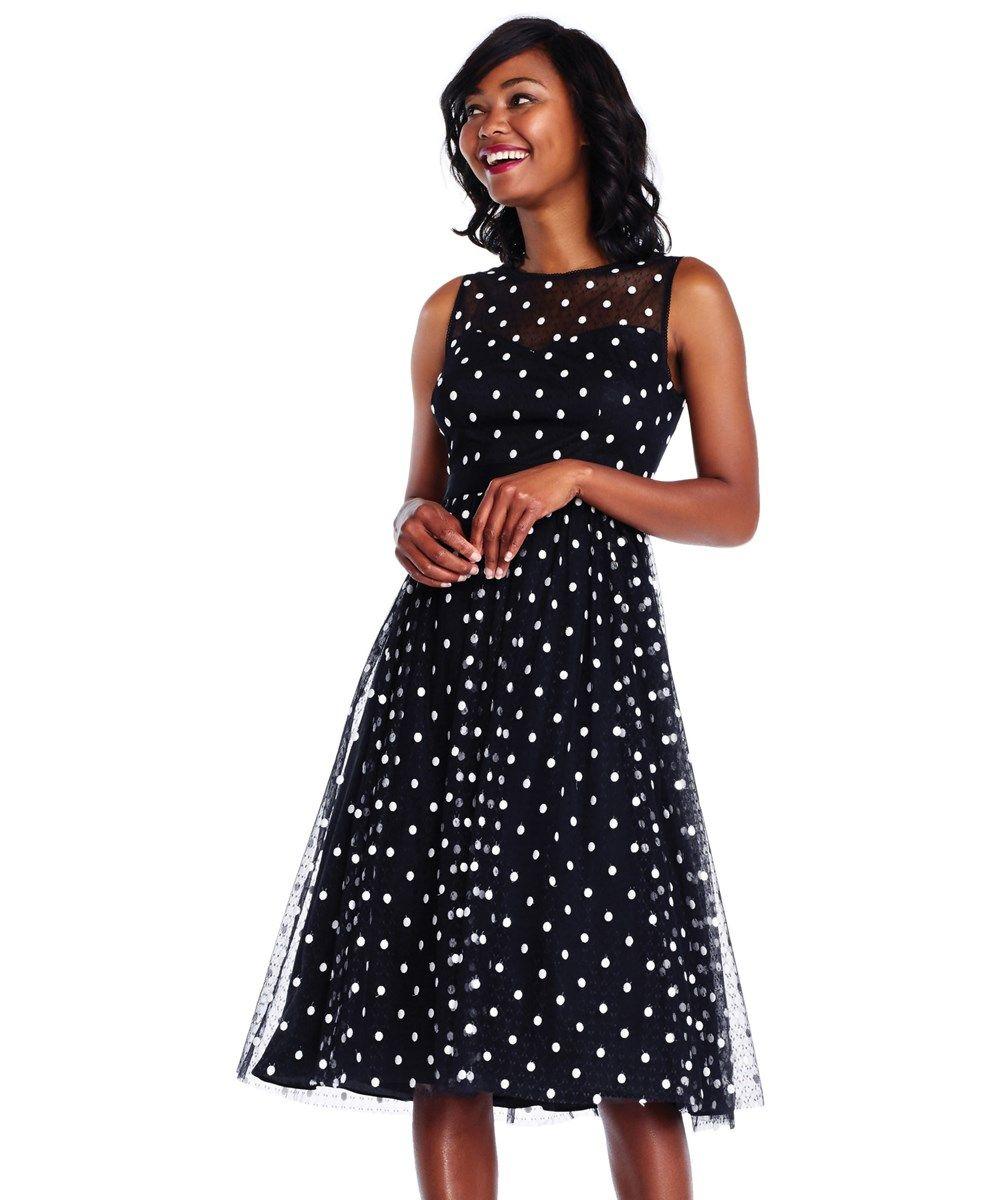 a5a1da43e05 Adrianna Papell Adrianna Papell Polka Dot Lace Midi Dress With Sheer  Neckline  220
