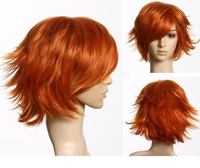 Red Orange Short Hair Layered Flip Out Heat