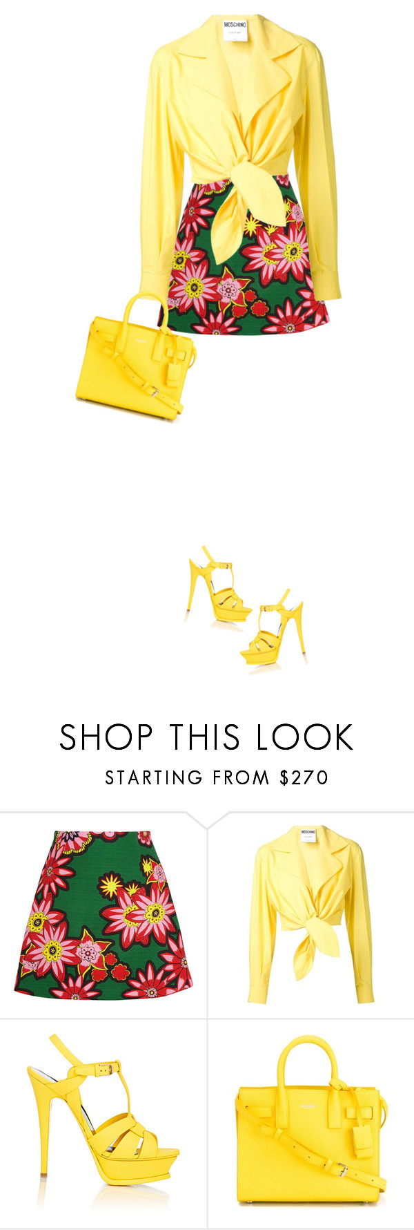 """it's a yellow bag!!!"" by bodangela ❤ liked on Polyvore featuring House of Holland, Moschino and Yves Saint Laurent"