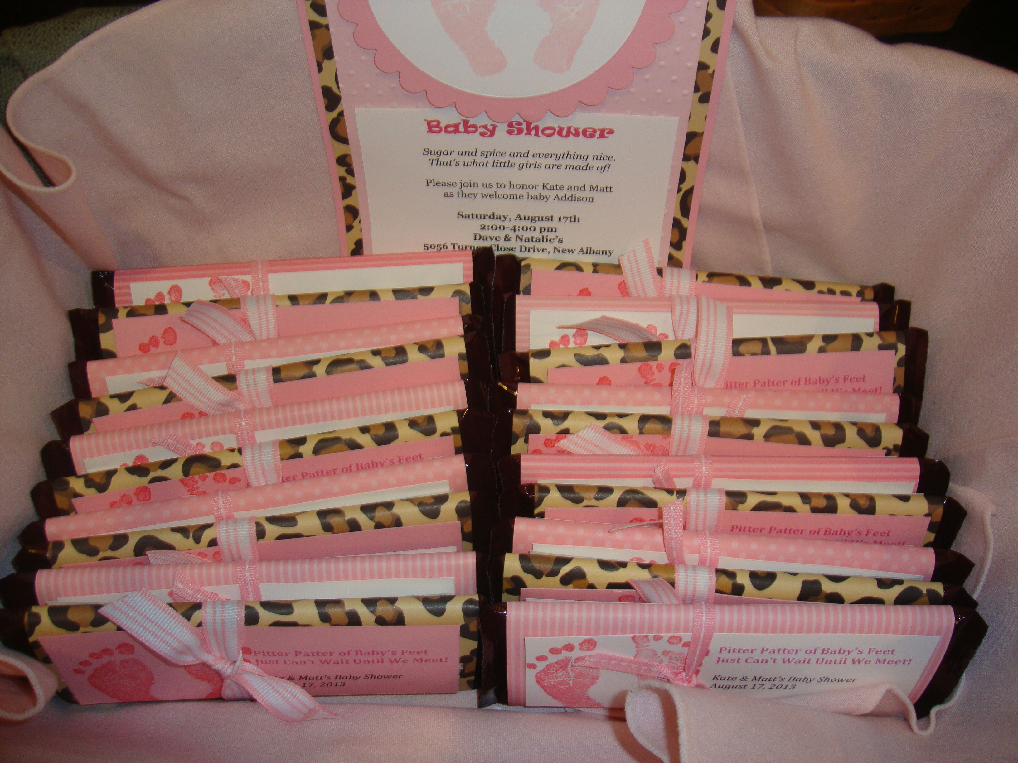 baby shower party favor idea hershey chocolate bar wrapped in designer paper simple and