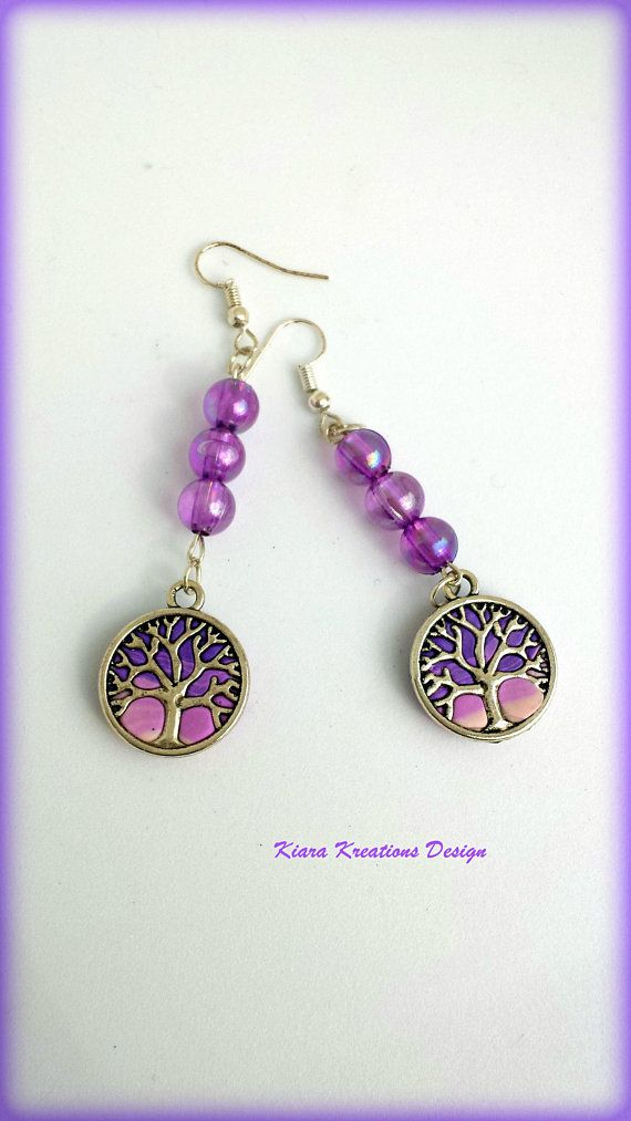 Treeoflife Earrings Violet Family Tree Meaningful Jewelry Unique Gifts Birthday For Her Mom Colorful
