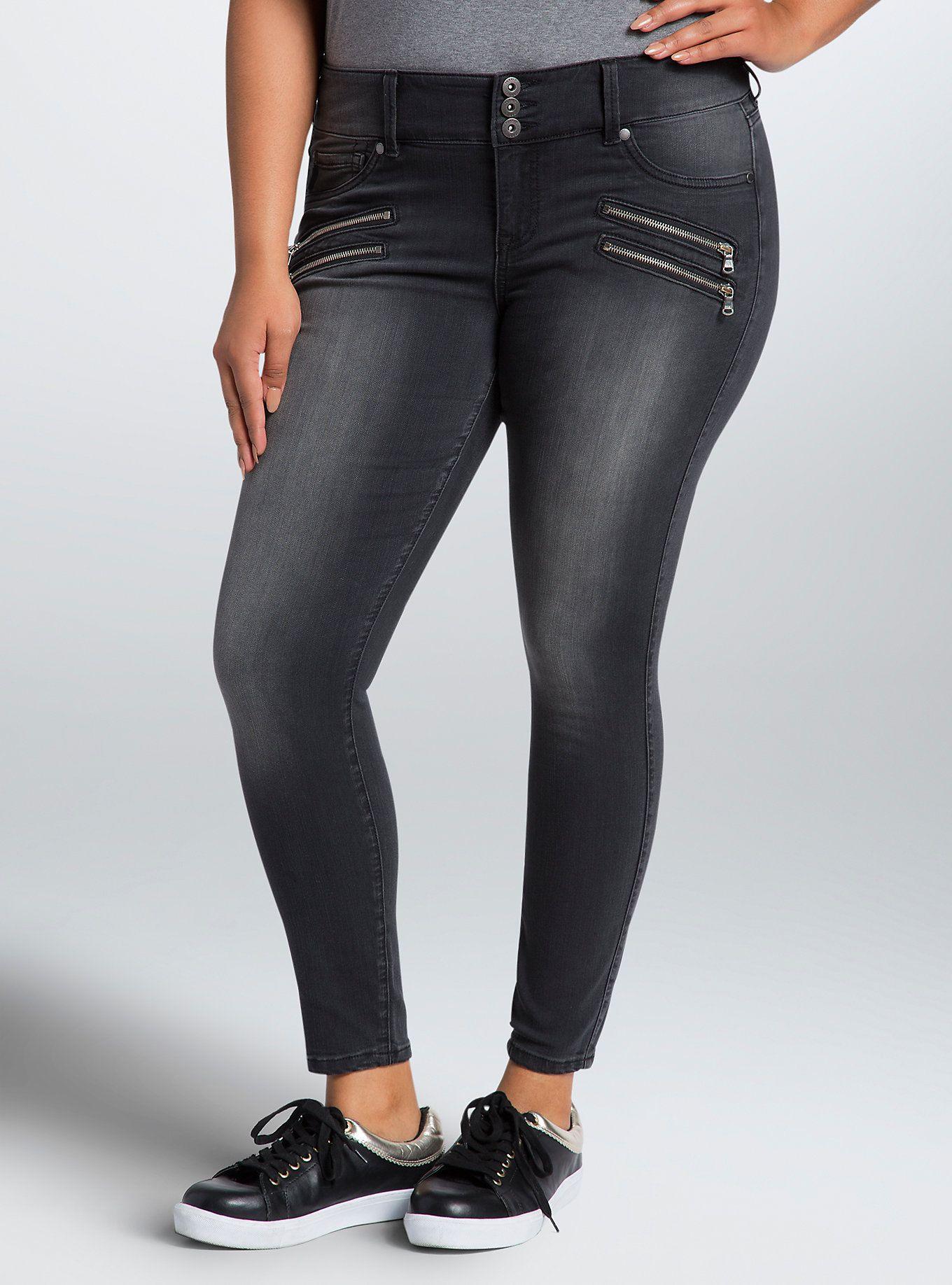 5c9fefb81c82a Torrid Multi Zip Jeggings - Black Wash (Regular)   Torrid Distressed  Leggings, Plus