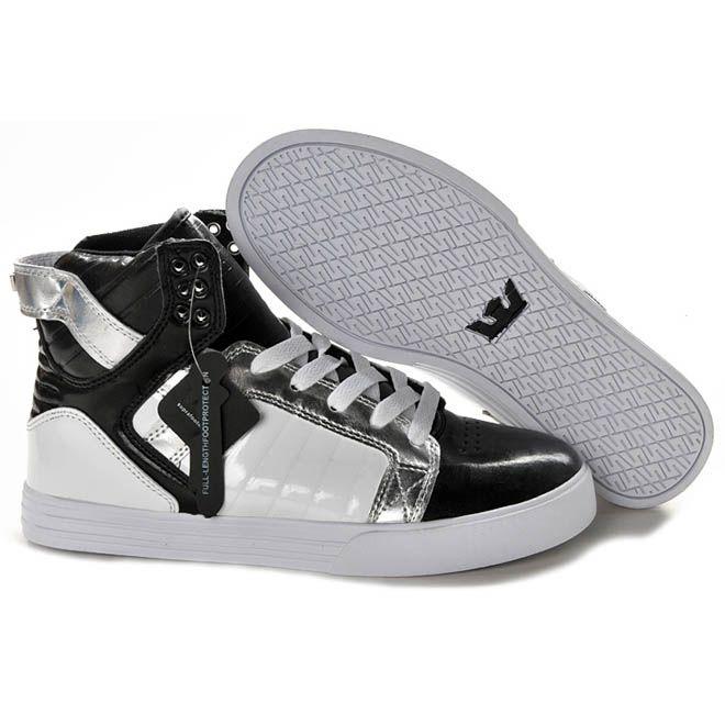 6bedcd271a2dd Supra Marcas Online - Hombres Supra Skytop Negro Blanco Plata Altos tops  zapatos 27329