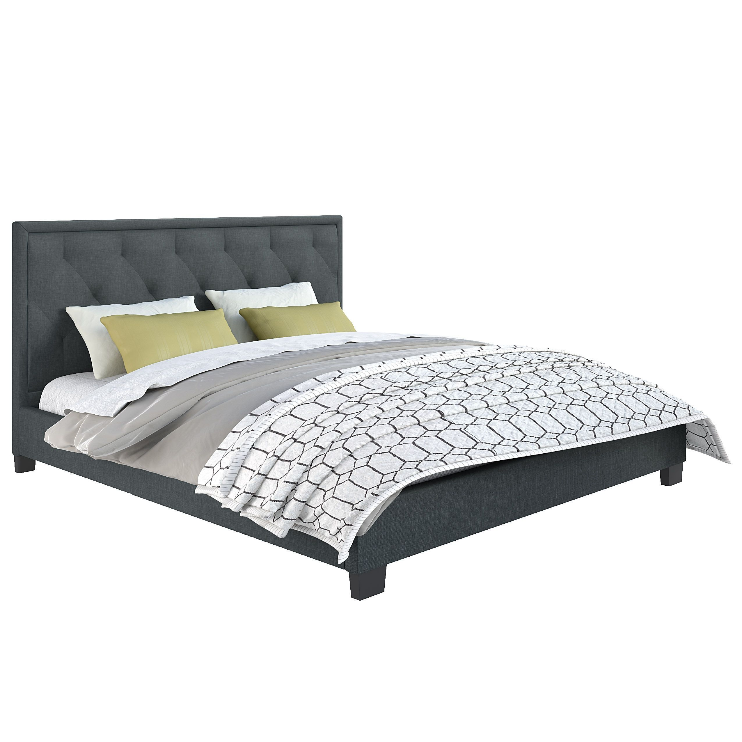 corliving fairfield diamond tufted upholstered king bed grey blue