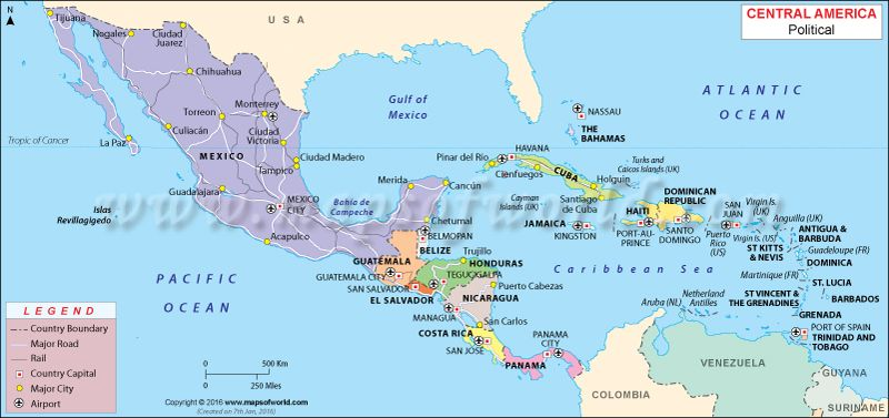 Central America Map Places to Visit