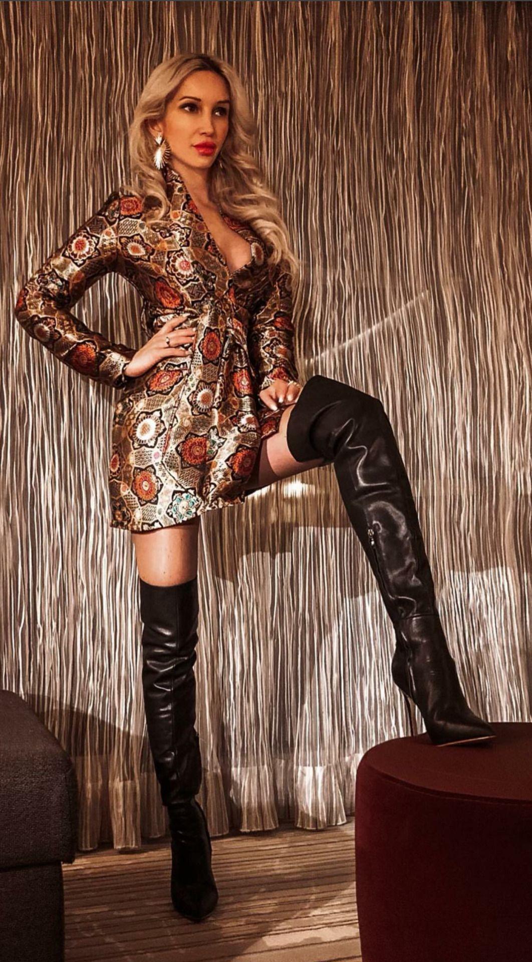 👑Goddess in Boots&Heels 👑 | Ledermantel damen, Overknee