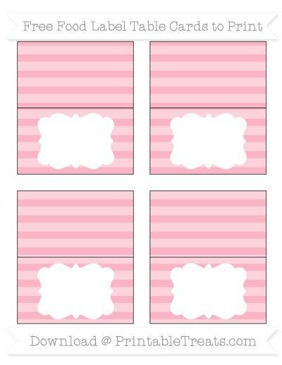 free pastel light pink horizontal striped simple food labels