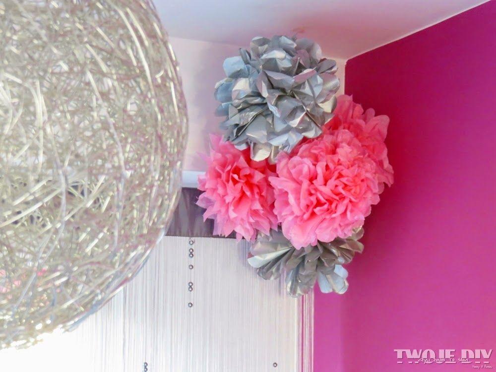 Twoje Diy Czyli Zrob To Sam Papierowe Pompony Diy Ceiling Lights Hanukkah Wreath