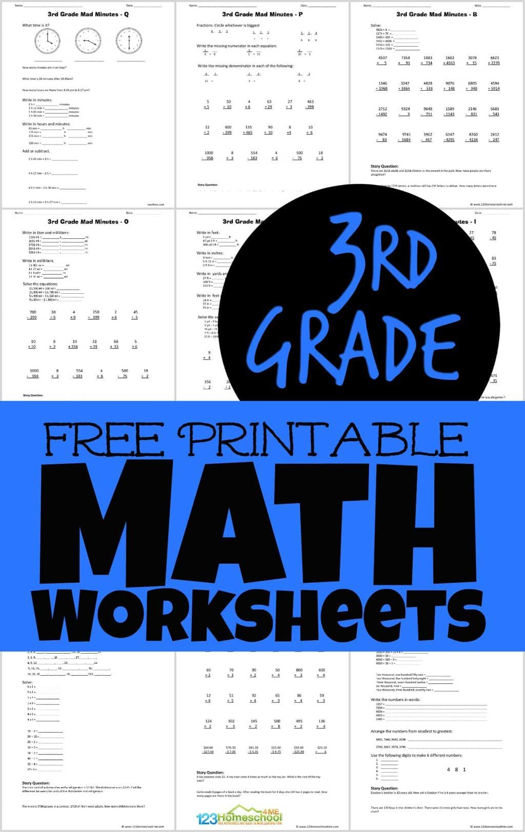 Free Printable 3rd Grade Math Worksheets In