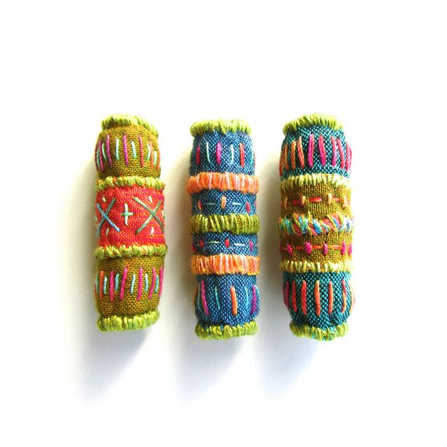 Funky Chunky Embroidered Beads. Victoria Gertenbach.
