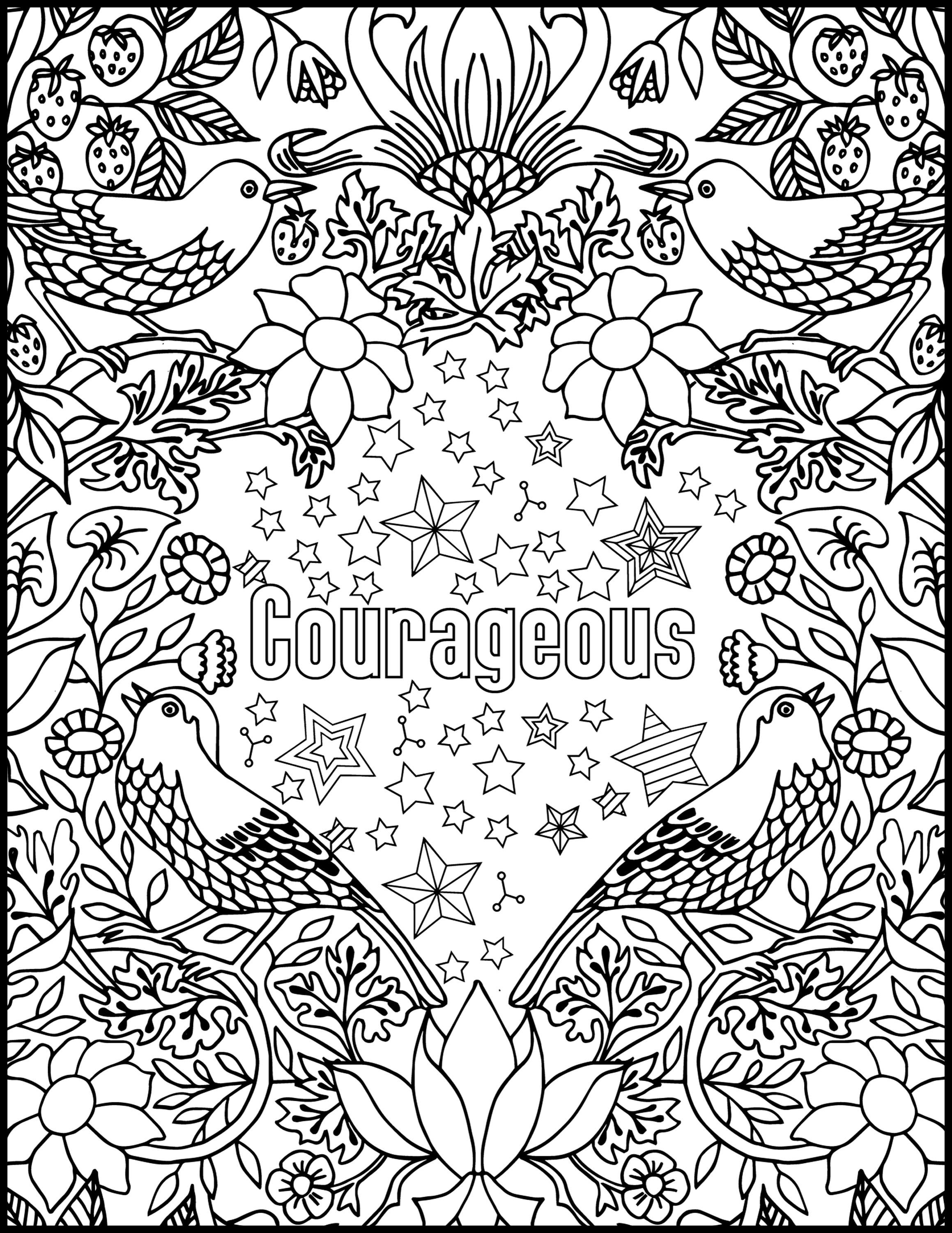 Courageous Positive Word Coloring Book Printable Coloring Book for