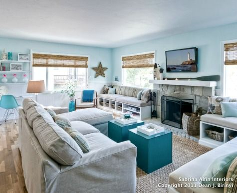 12 Small Coastal Beach Theme Living Room Ideas with Great Style ...