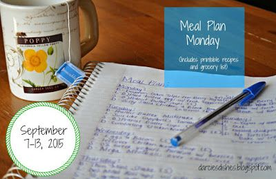Darcie's Dishes: Meal Plan Monday: 9/7-9/13/15 // A complete 7 day meal plan that includes all meals, snacks and drinks. There are many crock pot dinner meals used in this meal plan. All recipes are sugar-free, many are low-carb and ALL are THM compliant.