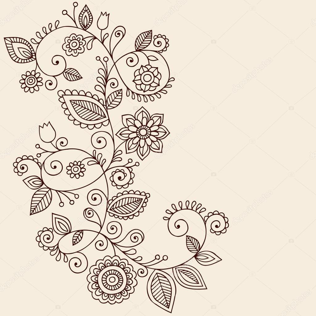 Handgezeichnete abstrakte Henna Mehndi Mandala Blumen und Reben ...
