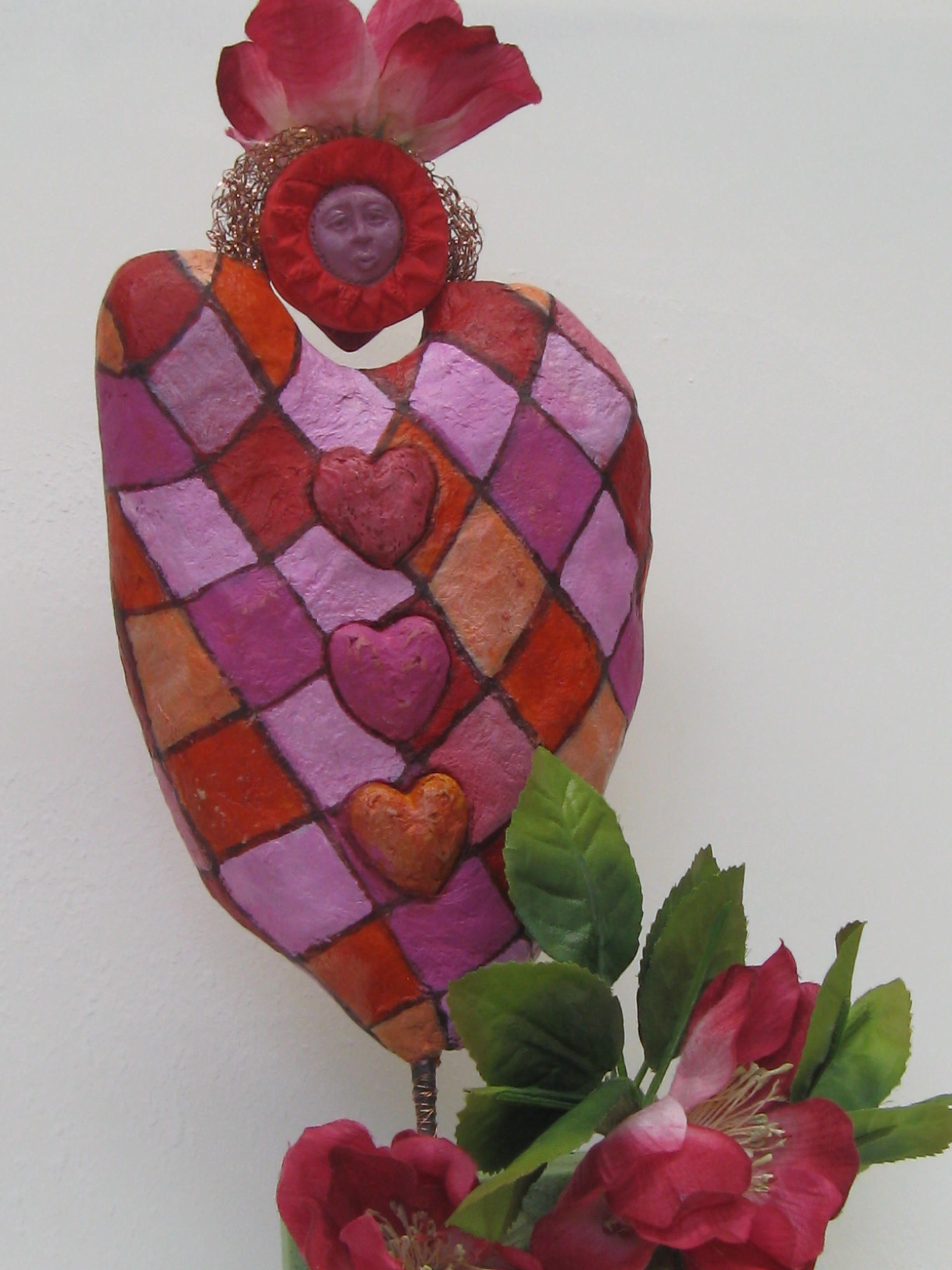 In progress : staged Queen of hearts   papier maché clay  sculpture Feb 2012