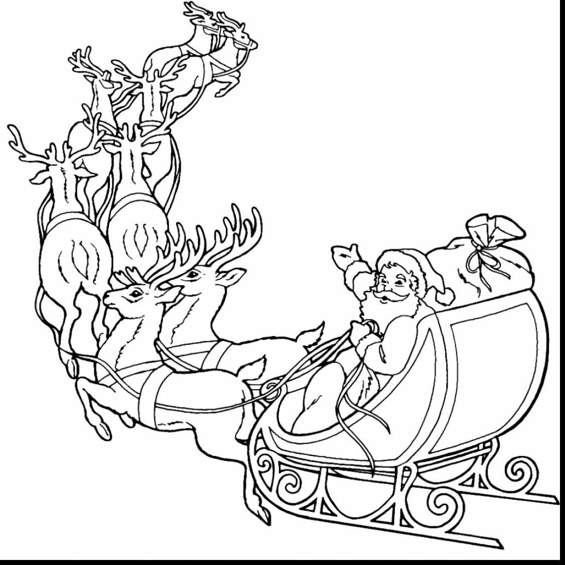 Unbelievable Santa Claus And Reindeer Coloring Pages With Reindeer