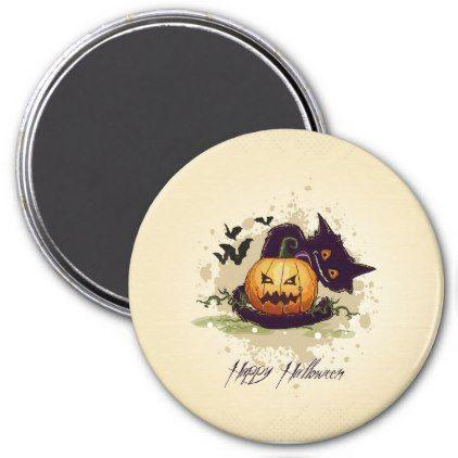 Happy Halloween Black Cat and Jack Magnet - home decor design art diy cyo custom