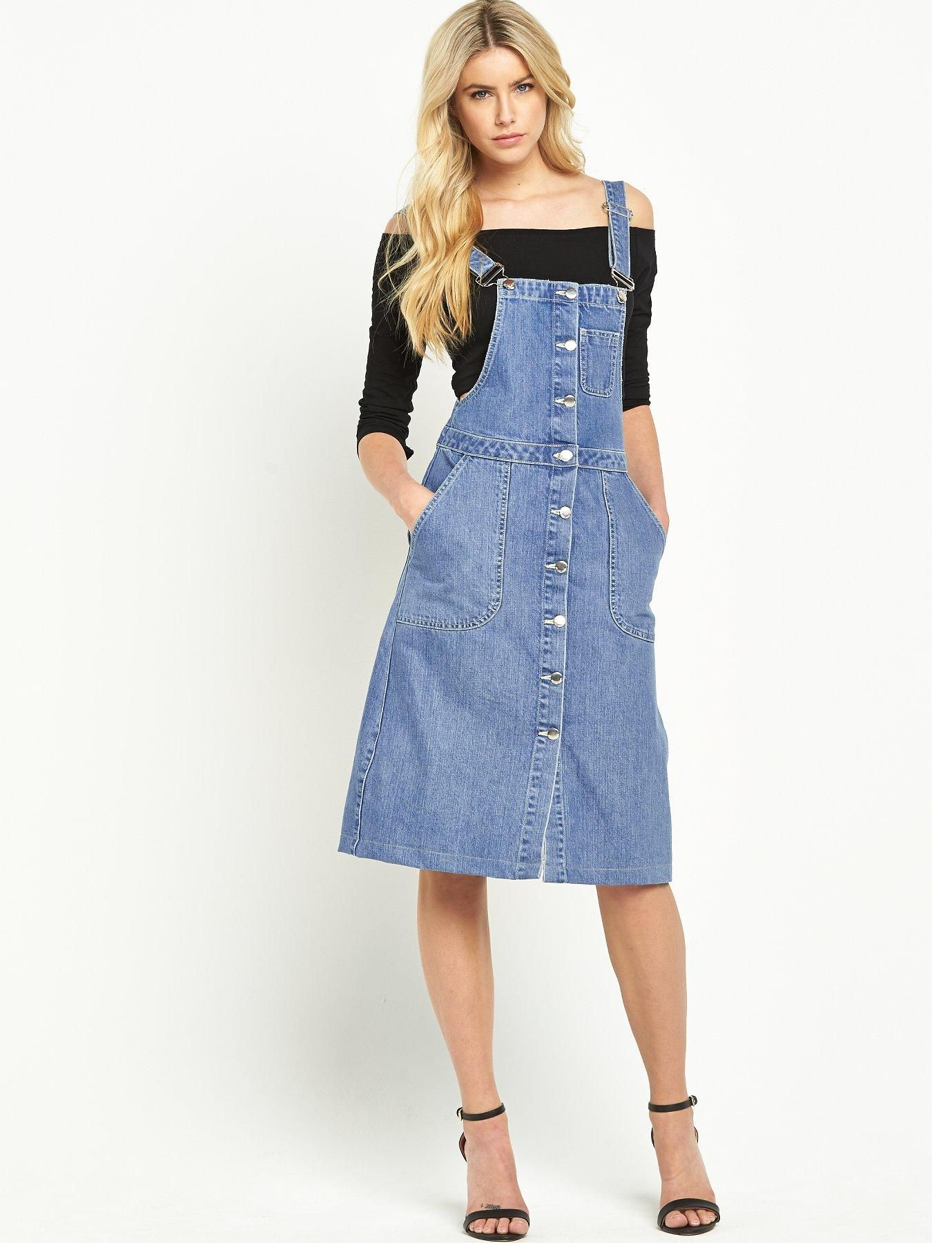 4338fe21822 South Candice Dungaree Midi Dress