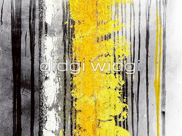 Black, white, yellow and grey abstract canvas wall art print - \