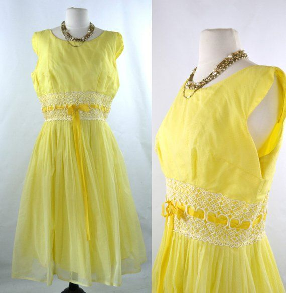 86b13500902 1950s 1960s Yellow Dotted Swiss Overlay Prom