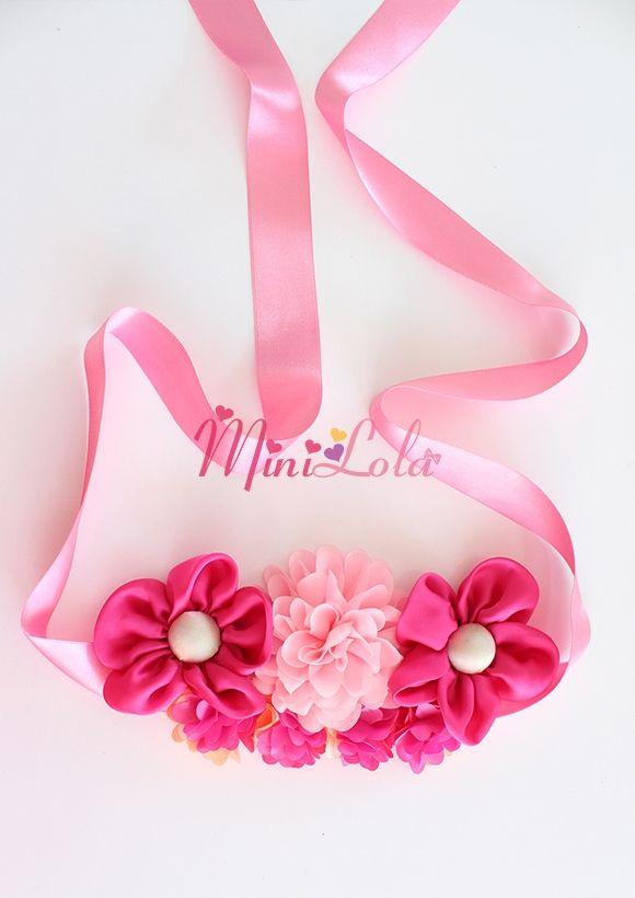 Fuşya saten çiçekli pembe süslü mini çiçekli hamile kemeri Minilola Anne, Bebek, Çocuk Ürünleri
