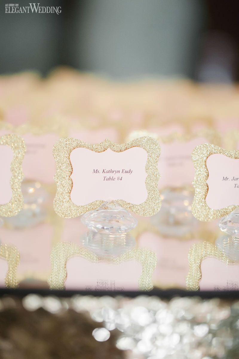 Sparkly gold and pink name cards! BLUSH & GOLD SPRING WEDDING IN ...