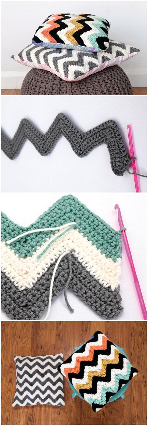 How To Crochet Chevron Cushions | Crochet | Pinterest | Lana