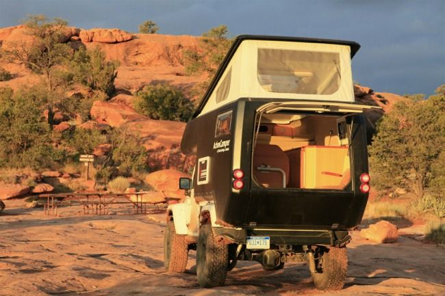 The At Action Camper Bolts Onto The Back Of Your Jeep Features 6 3 Of Interior Headroom A King Size Bed Three Burner Stov Jeep Adventure Campers Jeep Gear