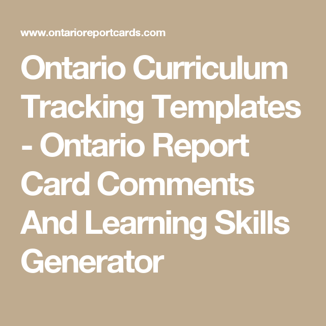 Ontario Curriculum Tracking Templates  Ontario Report Card