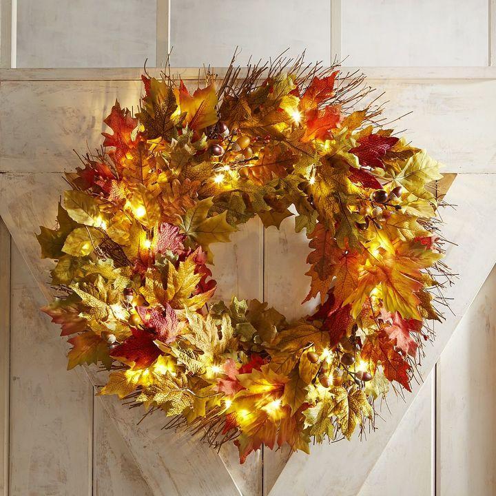 faux fall leaves oversized led pre lit 26 wreath ad fall decor