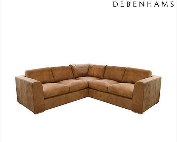 Debenhams Medium Tan Leather Paris Corner Sofa Rrp 5300 1 Month