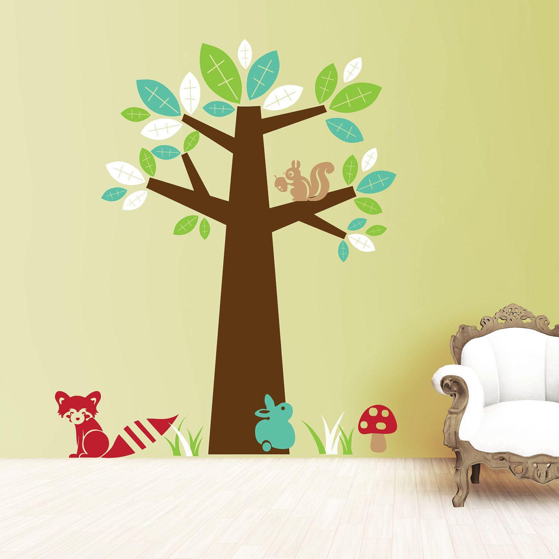 Modern Woodland Tree Wall Decal - Vinyl Wall Art Children\'s Bedroom ...