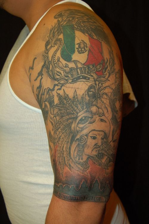 Half sleeve aztec tattoo for men for Aztec tattoos sleeve