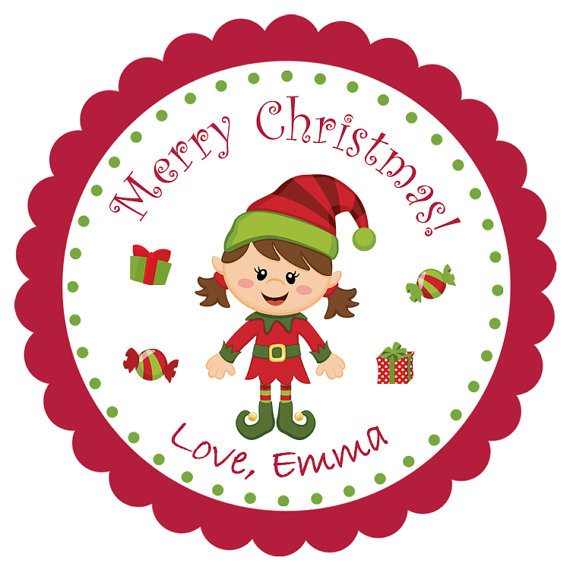 christmas elf sticker christmas birthday kids christmas gift tag favor tag address label personalized sticker holiday treats tag