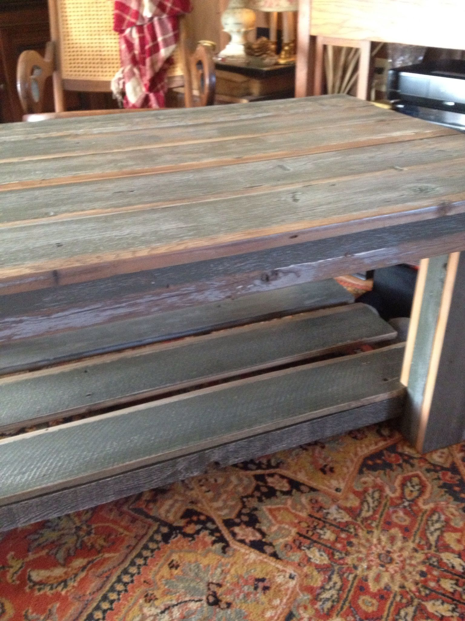 Coffee table made from old redwood fencing coastal