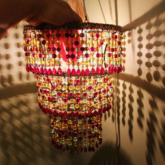 Beautiful Beaded Chandelier Hanging Lamp By Greenacrestreasures