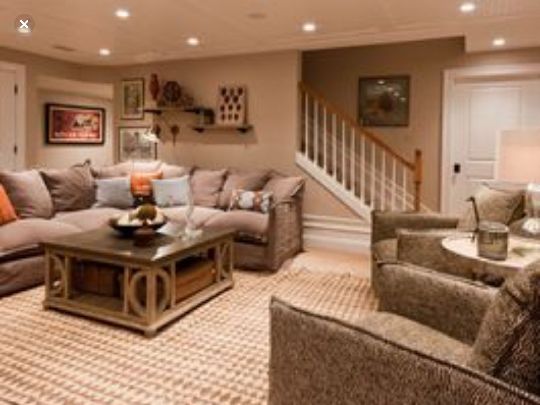 need to open our staircase to look like this basement remodel