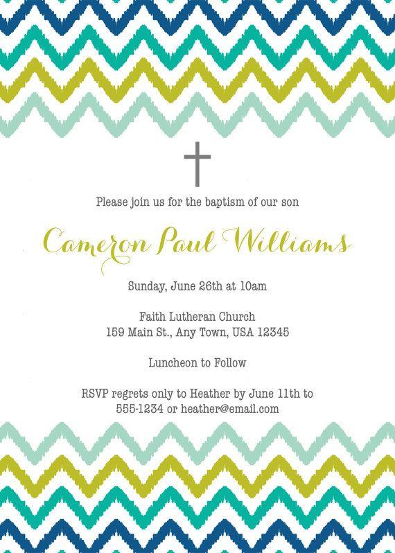 Invitación de bautismo para imprimir de Ikat por inglishdigidesign
