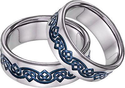 Lesofgold Blue Anium Celtic Heart Wedding Band Set His In Mine